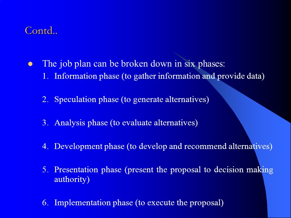 Contd.. The job plan can be broken down in six phases: 1.Information phase (to gather information and provide data) 2.Speculation phase (to generate a