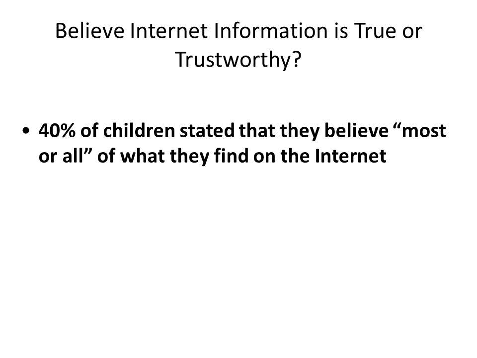 Believe Internet Information is True or Trustworthy.