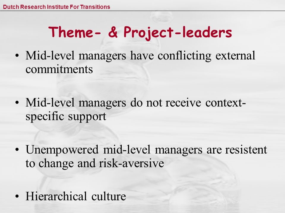 Dutch Research Institute For Transitions Theme- & Project-leaders Mid-level managers have conflicting external commitments Mid-level managers do not receive context- specific support Unempowered mid-level managers are resistent to change and risk-aversive Hierarchical culture