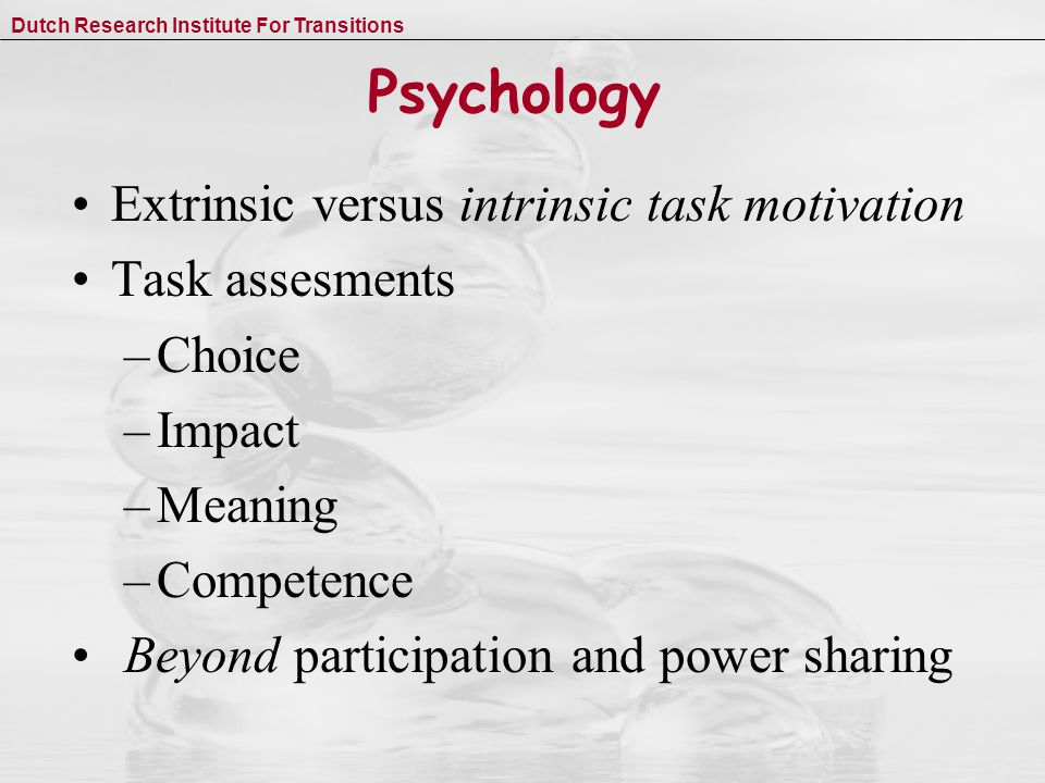 Dutch Research Institute For Transitions Psychology Extrinsic versus intrinsic task motivation Task assesments –Choice –Impact –Meaning –Competence Beyond participation and power sharing