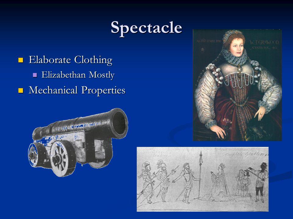 Spectacle Elaborate Clothing Elaborate Clothing Elizabethan Mostly Elizabethan Mostly Mechanical Properties Mechanical Properties