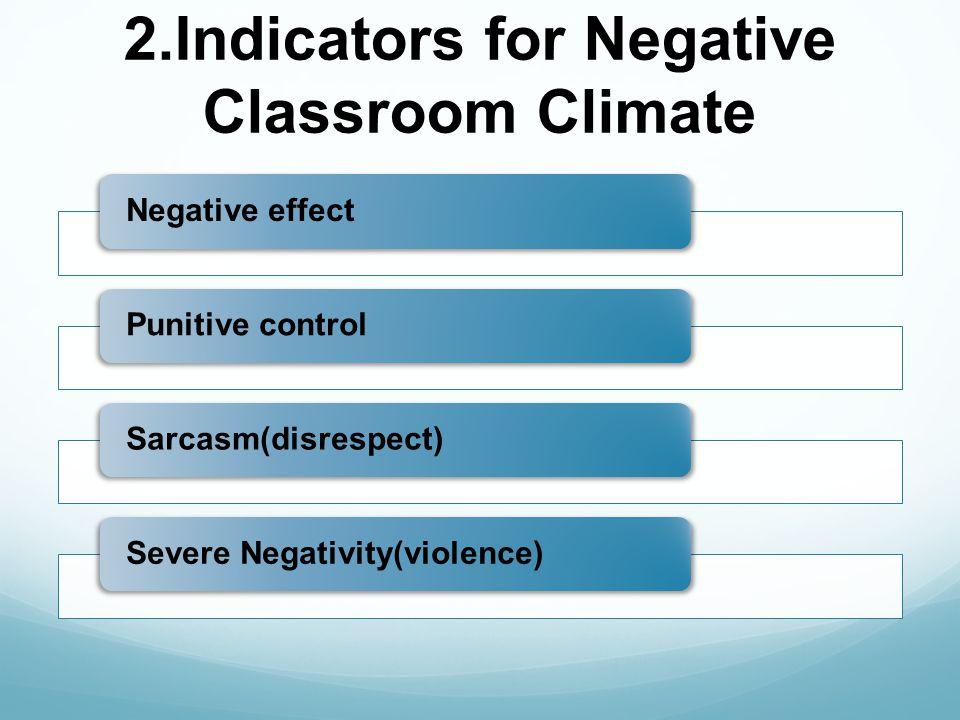 2.Indicators for Negative Classroom Climate Negative effectPunitive controlSarcasm(disrespect)Severe Negativity(violence)