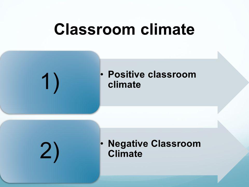 Classroom climate Positive classroom climate 1) Negative Classroom Climate 2)