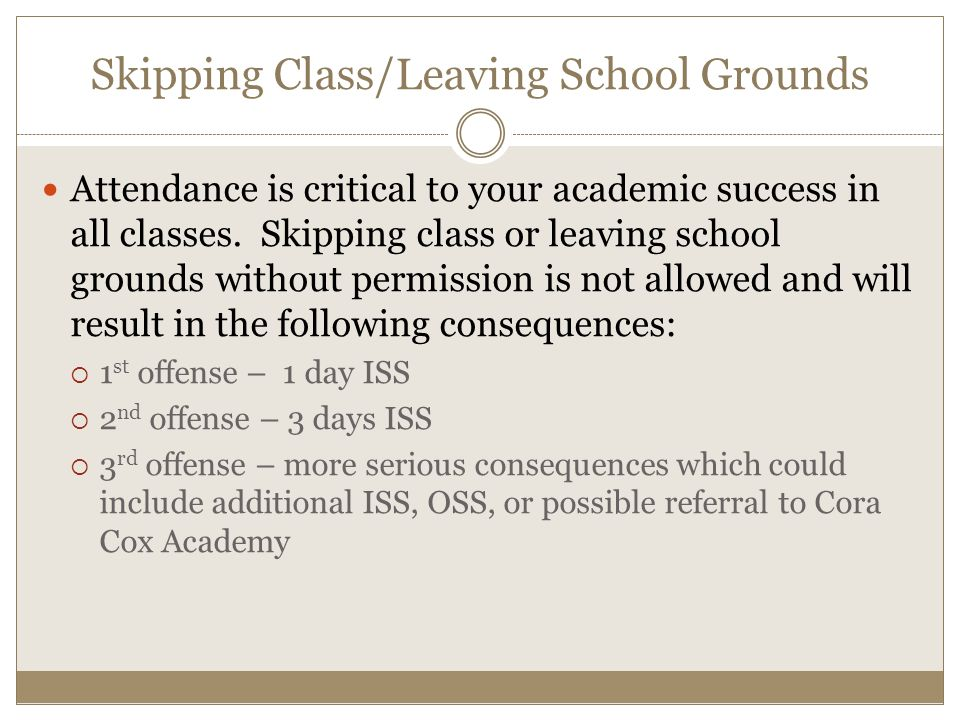 Skipping Class/Leaving School Grounds Attendance is critical to your academic success in all classes.
