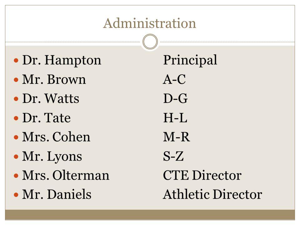 Counselors Mrs.NelsonA-C Mrs. W. WolfeD-G Mr. FreemanH-L Mrs.