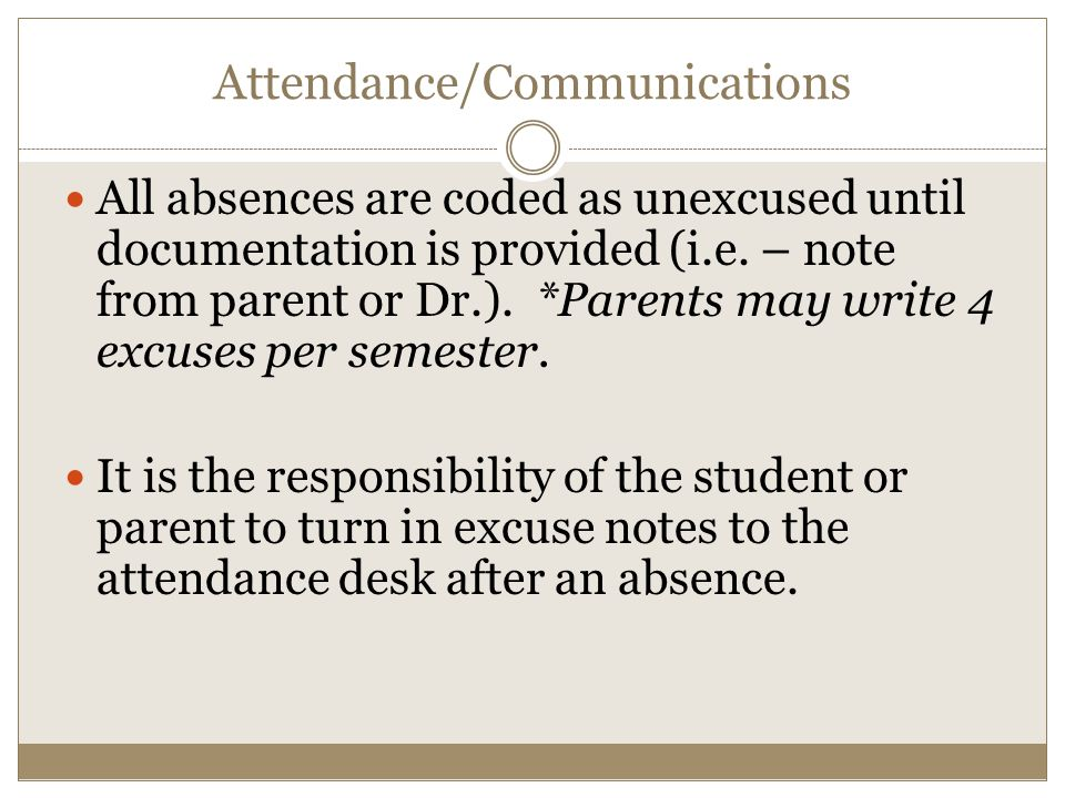 Attendance/Communications All absences are coded as unexcused until documentation is provided (i.e.