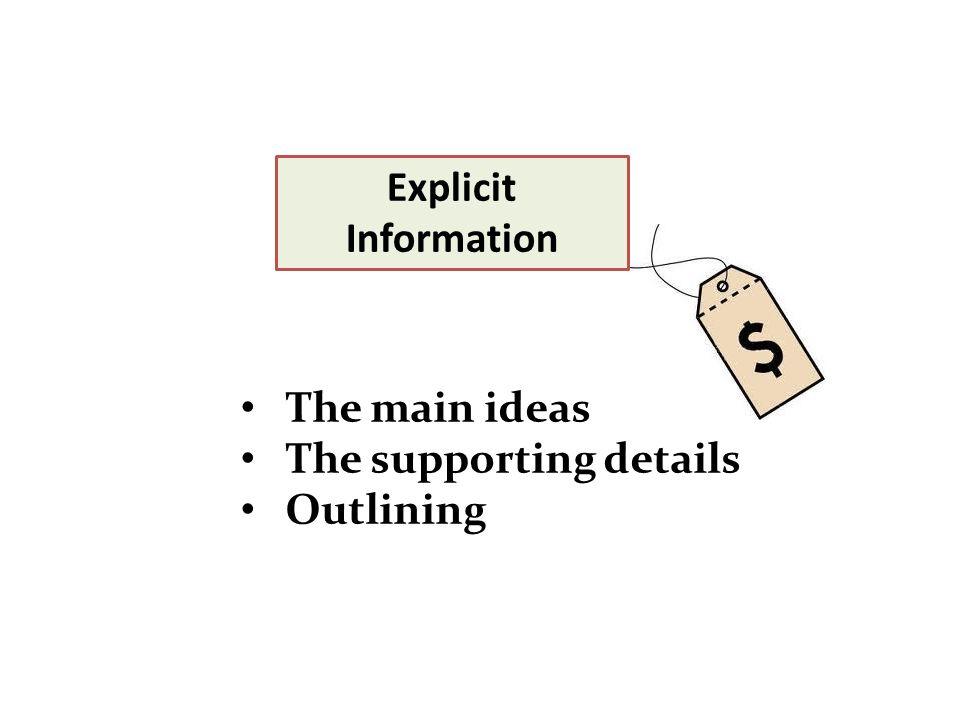 Explicit Information The main ideas The supporting details Outlining