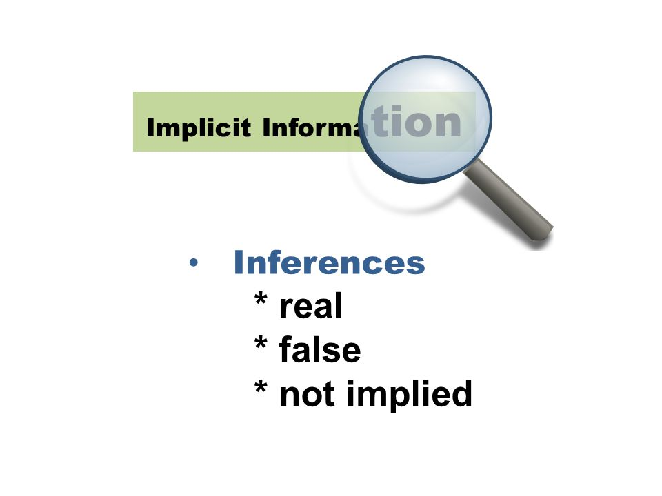 Implicit Informa tion Inferences * real * false * not implied