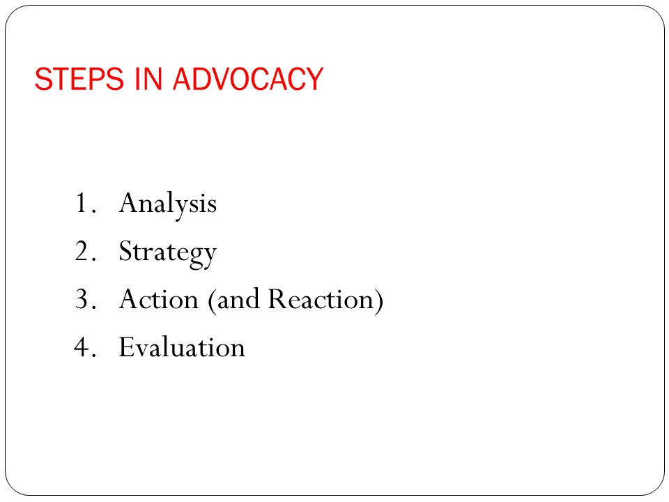 1.Analysis 2.Strategy 3.Action (and Reaction) 4.Evaluation