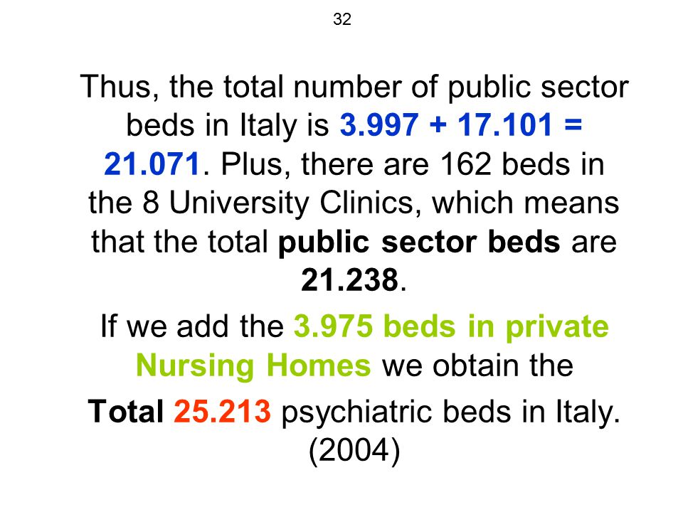 32 Thus, the total number of public sector beds in Italy is 3.997 + 17.101 = 21.071. Plus, there are 162 beds in the 8 University Clinics, which means