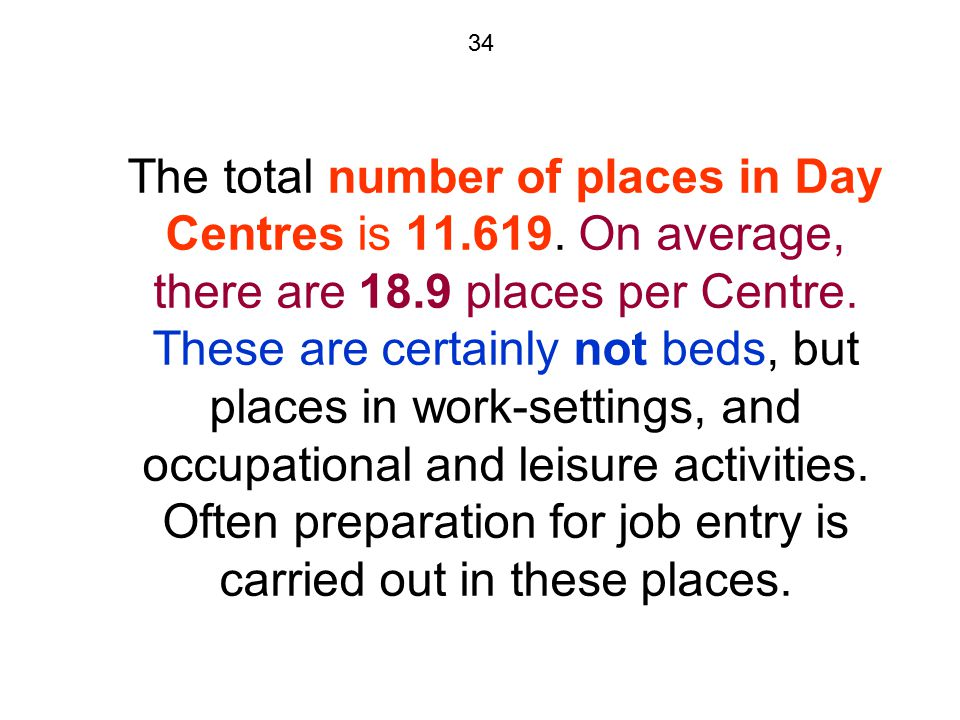34 The total number of places in Day Centres is 11.619.