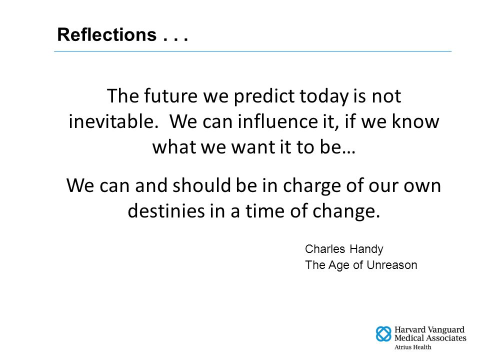 Charles Handy The Age of Unreason The future we predict today is not inevitable.