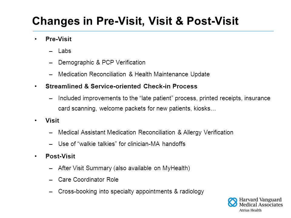 Changes in Pre-Visit, Visit & Post-Visit Pre-Visit –Labs –Demographic & PCP Verification –Medication Reconciliation & Health Maintenance Update Streamlined & Service-oriented Check-in Process –Included improvements to the late patient process, printed receipts, insurance card scanning, welcome packets for new patients, kiosks… Visit –Medical Assistant Medication Reconciliation & Allergy Verification –Use of walkie talkies for clinician-MA handoffs Post-Visit –After Visit Summary (also available on MyHealth) –Care Coordinator Role –Cross-booking into specialty appointments & radiology