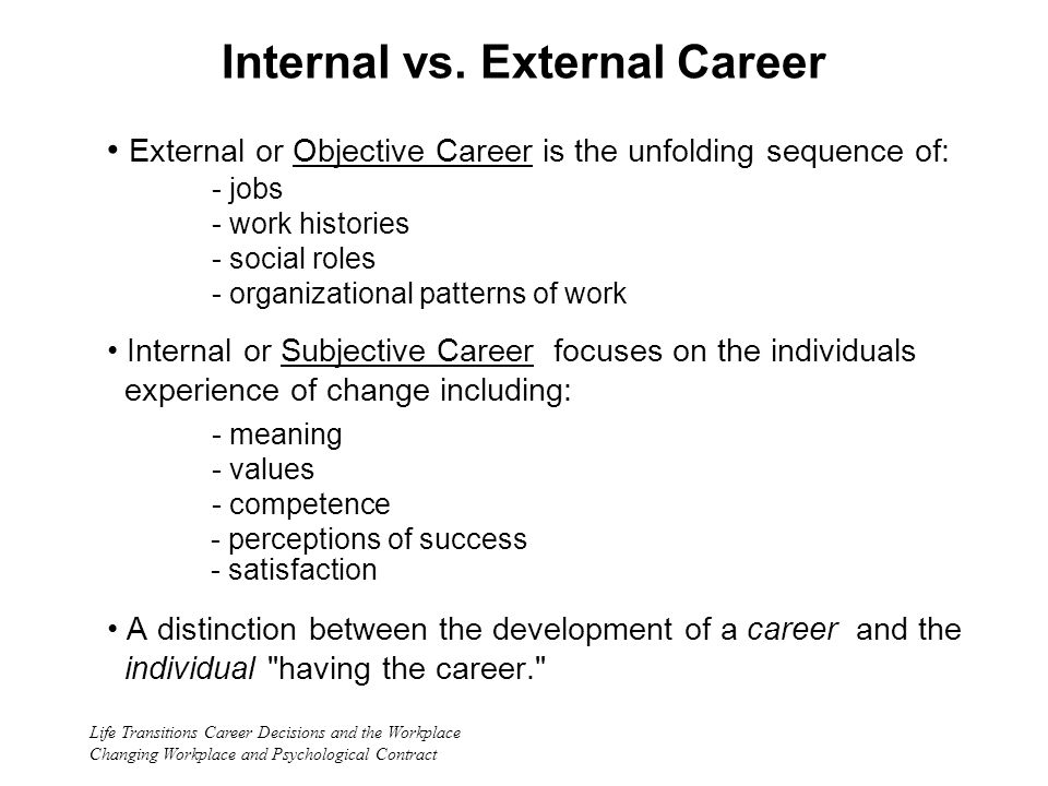 Life Transitions Career Decisions and the Workplace Changing Workplace and Psychological Contract Internal vs.