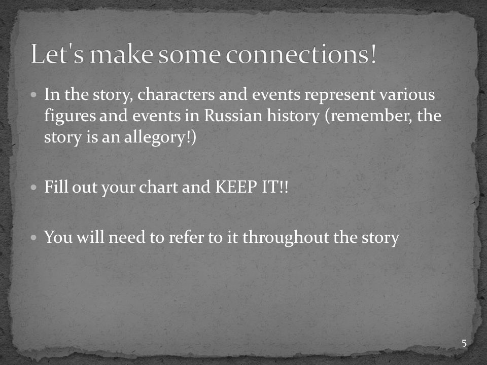 In the story, characters and events represent various figures and events in Russian history (remember, the story is an allegory!) Fill out your chart