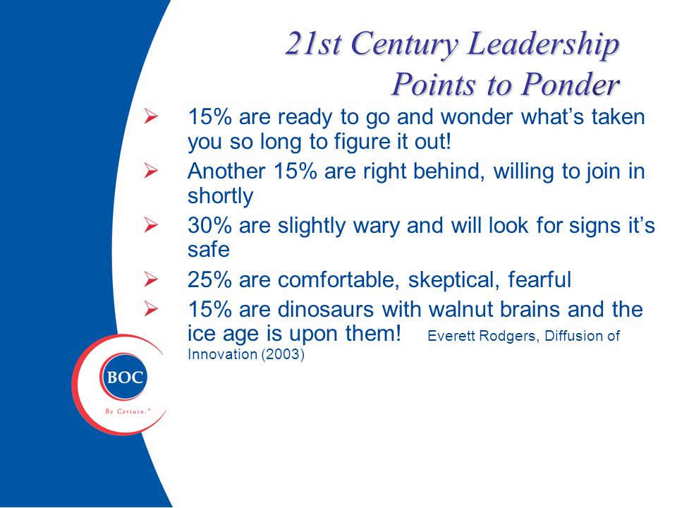 21st Century Leadership Points to Ponder  15% are ready to go and wonder what's taken you so long to figure it out.