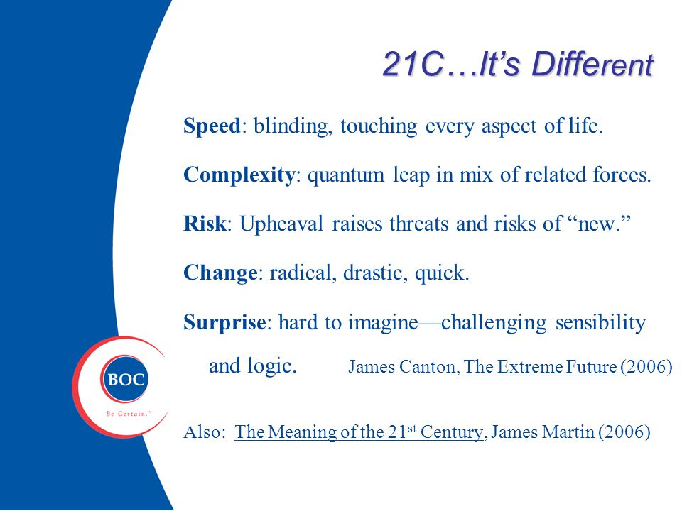 21C…It's Diffe rent Speed: blinding, touching every aspect of life.