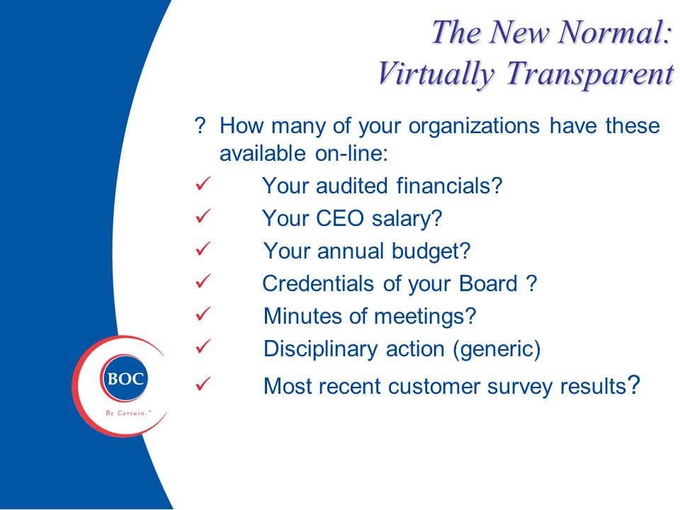 The New Normal: Virtually Transparent How many of your organizations have these available on-line: Your audited financials.