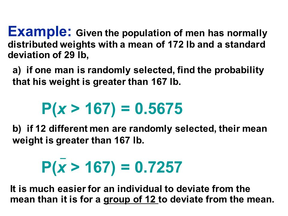 Example: Given the population of men has normally distributed weights with a mean of 172 lb and a standard deviation of 29 lb, b) if 12 different men