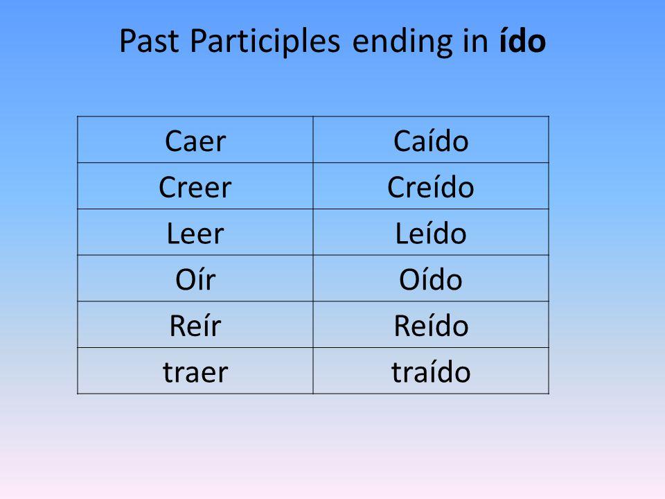 Past Participles ending in ído CaerCaído CreerCreído LeerLeído OírOído ReírReído traertraído