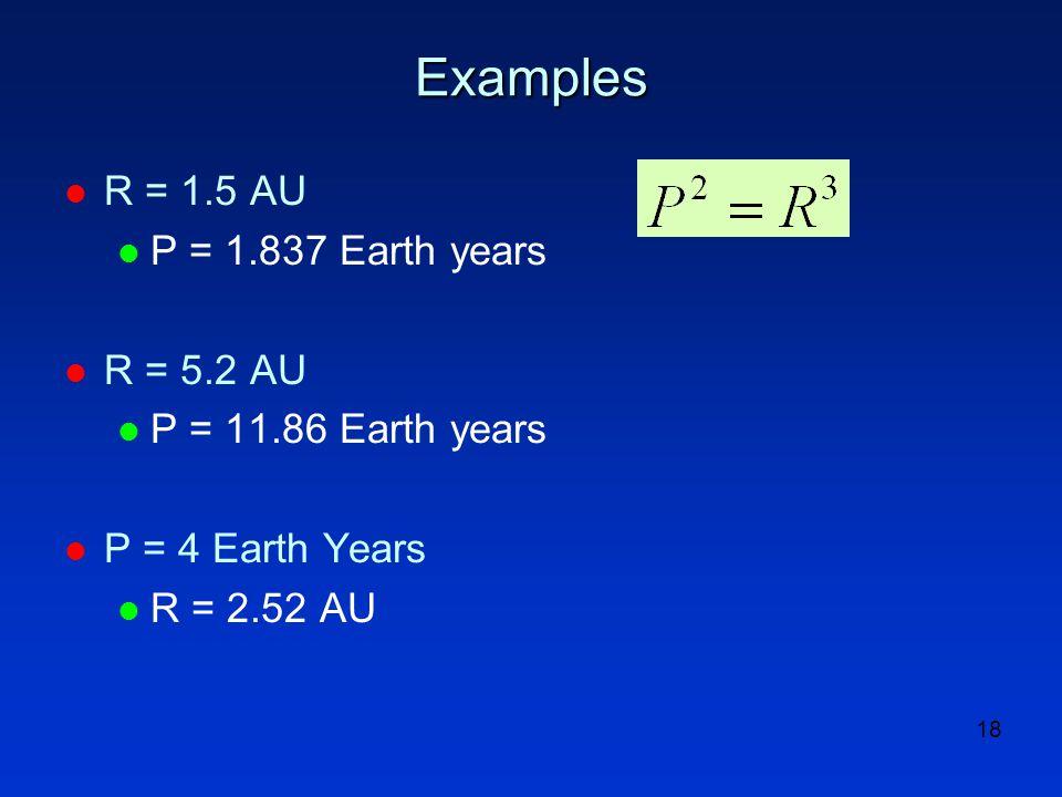 18 Examples l R = 1.5 AU l P = 1.837 Earth years l R = 5.2 AU l P = 11.86 Earth years l P = 4 Earth Years l R = 2.52 AU