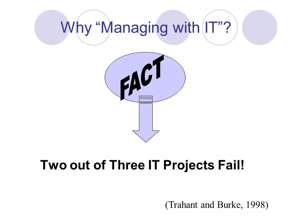 Why Managing with IT Two out of Three IT Projects Fail! (Trahant and Burke, 1998)