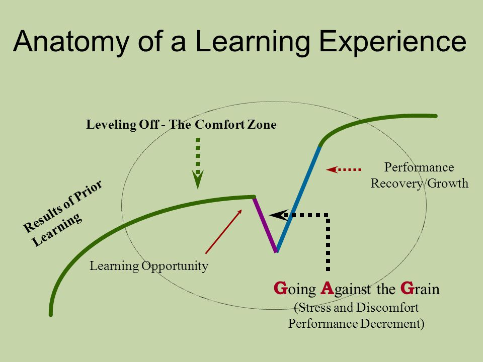 Anatomy of a Learning Experience Performance Recovery/Growth G oing A gainst the G rain (Stress and Discomfort Performance Decrement) Learning Opportunity Leveling Off - The Comfort Zone Results of Prior Learning