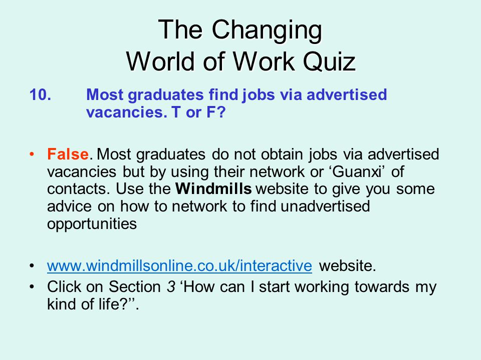 The Changing World of Work Quiz 10.Most graduates find jobs via advertised vacancies.