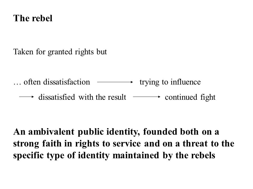 The rebel Taken for granted rights but … often dissatisfactiontrying to influence dissatisfied with the resultcontinued fight An ambivalent public identity, founded both on a strong faith in rights to service and on a threat to the specific type of identity maintained by the rebels