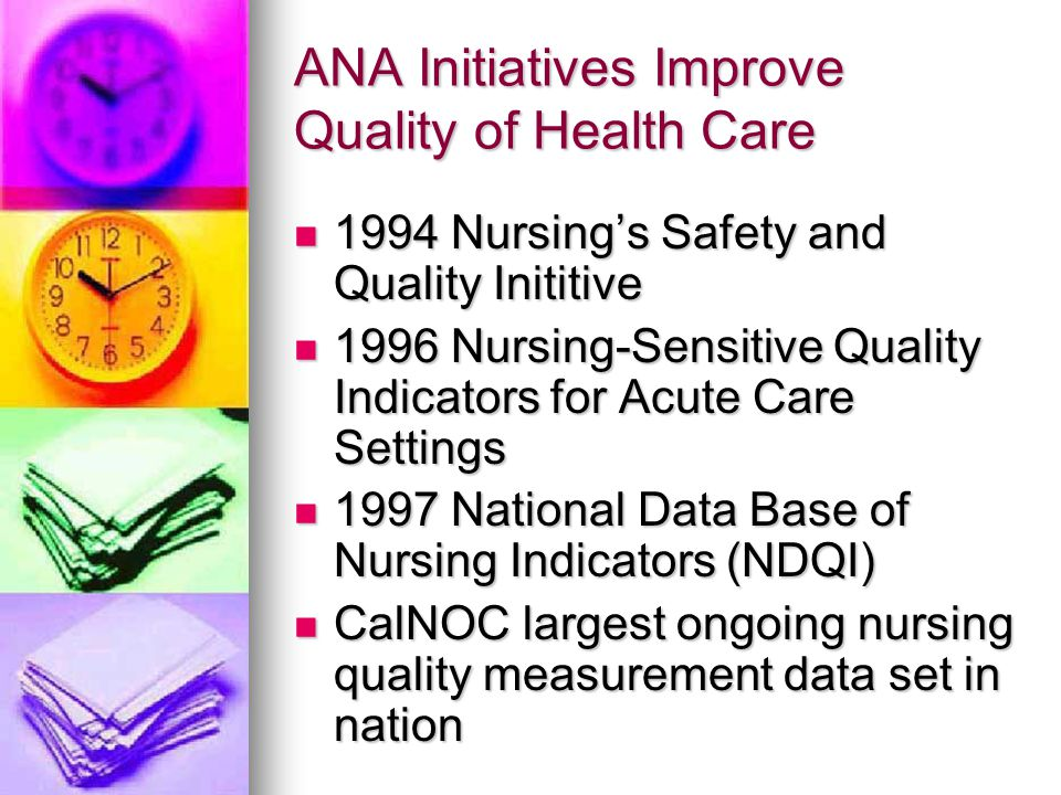 ANA Initiatives Improve Quality of Health Care 1994 Nursing's Safety and Quality Inititive 1994 Nursing's Safety and Quality Inititive 1996 Nursing-Se