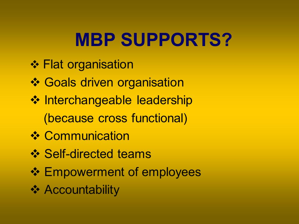 Steps for Implementing MBP