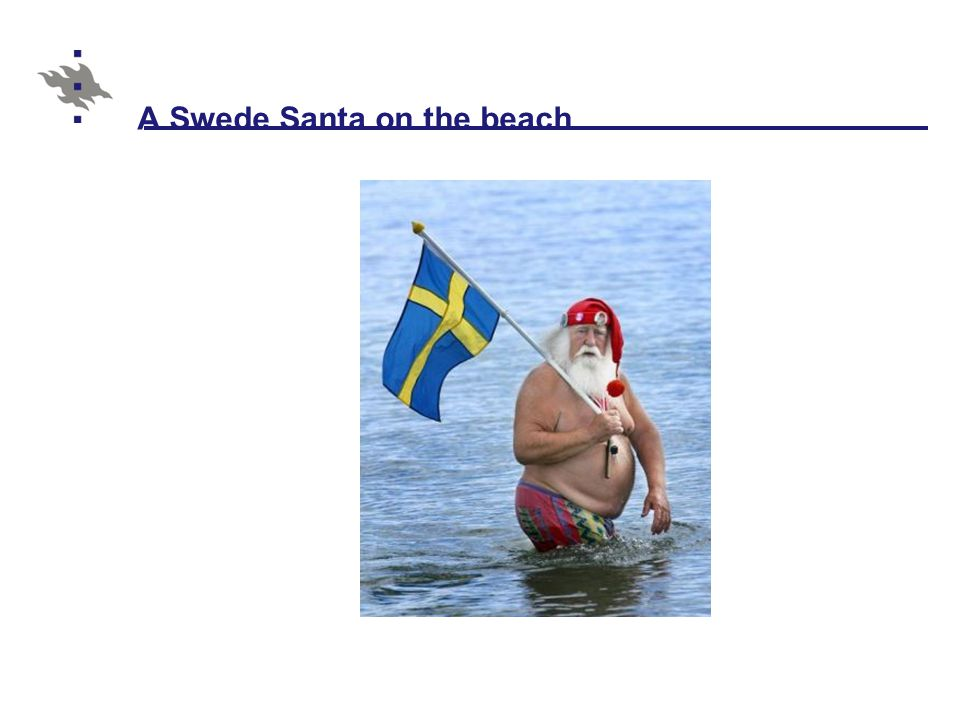 A Swede Santa on the beach