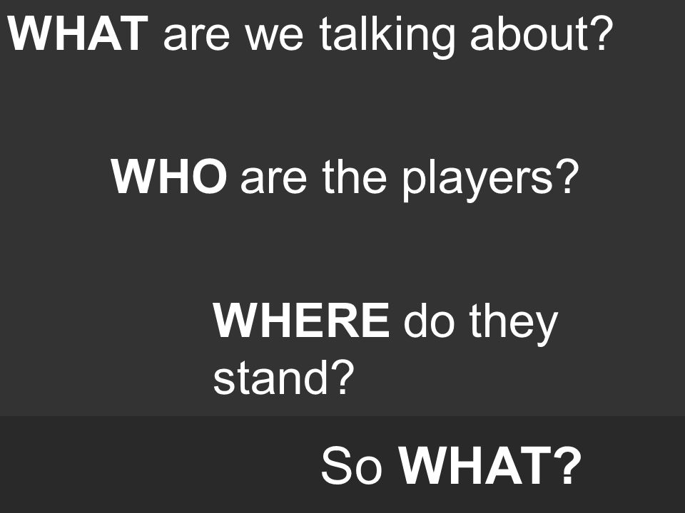 So WHAT? WHAT are we talking about? WHO are the players? WHERE do they stand?