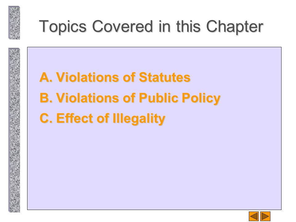 Topics Covered in this Chapter A. Violations of Statutes B. Violations of Public Policy C. Effect of Illegality
