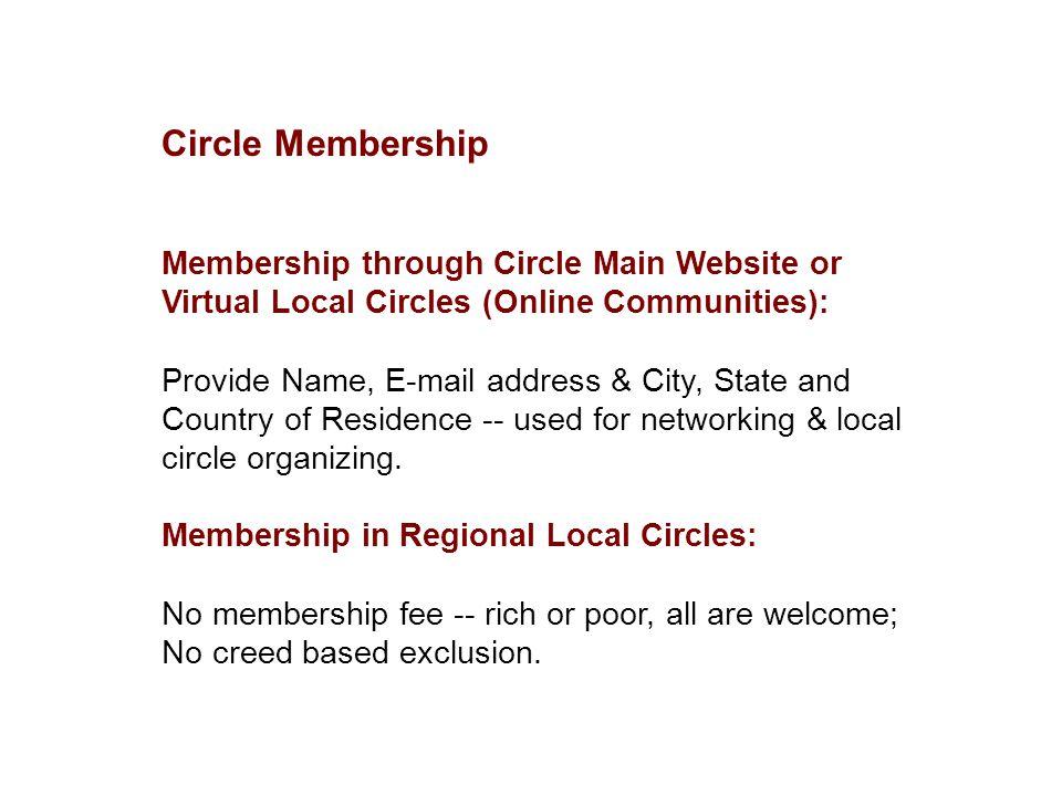 Circle Membership Membership through Circle Main Website or Virtual Local Circles (Online Communities): Provide Name, E-mail address & City, State and
