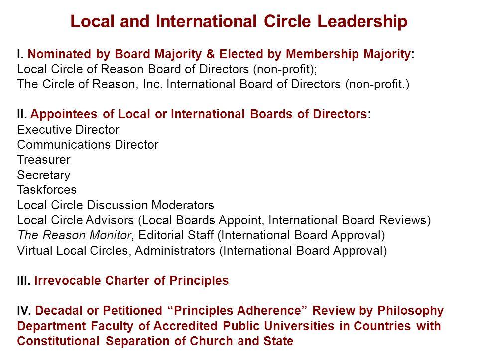 Local and International Circle Leadership I. Nominated by Board Majority & Elected by Membership Majority: Local Circle of Reason Board of Directors (