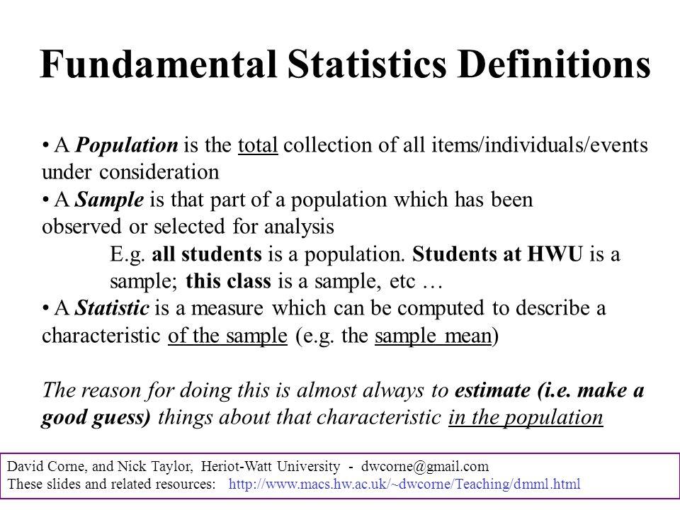 David Corne, and Nick Taylor, Heriot-Watt University - dwcorne@gmail.com These slides and related resources: http://www.macs.hw.ac.uk/~dwcorne/Teaching/dmml.html E.g.