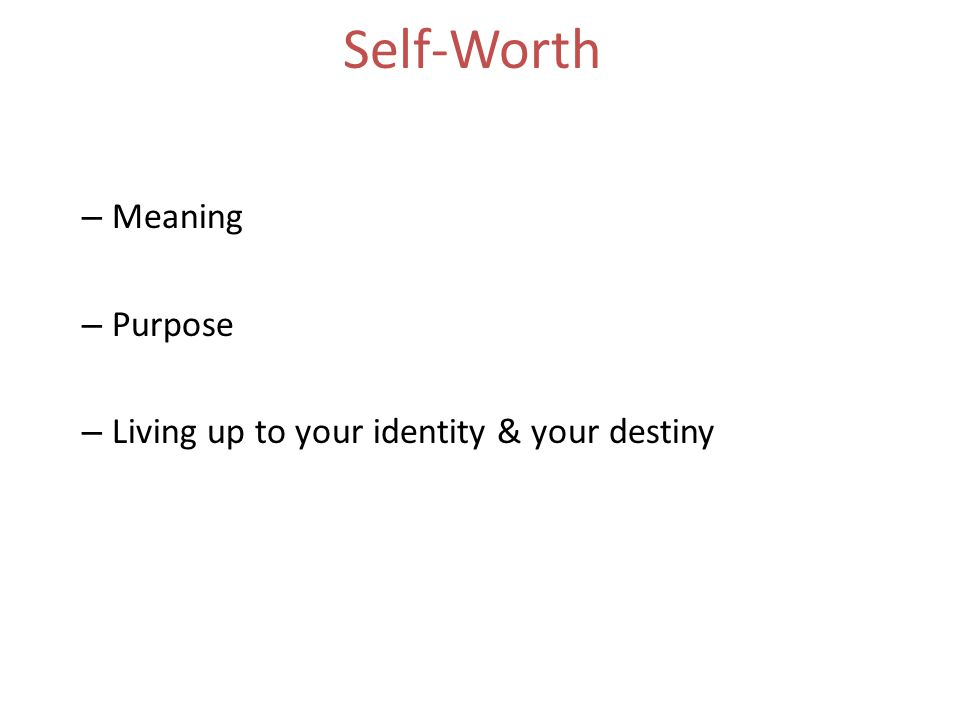 Self-Worth – Meaning – Purpose – Living up to your identity & your destiny