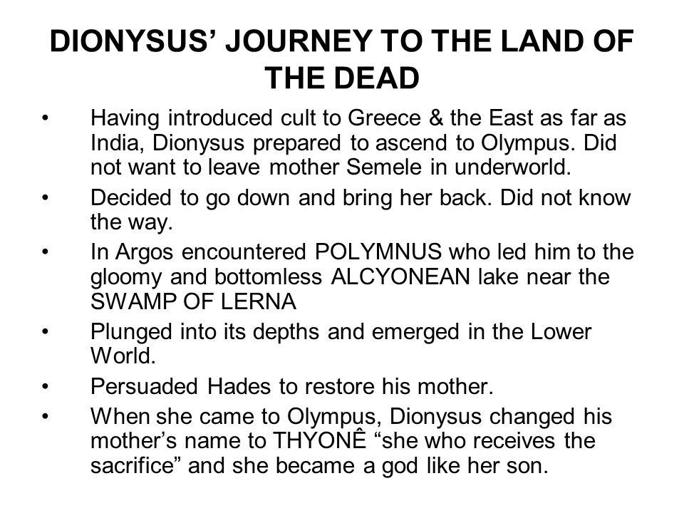 Name of Dionysus 'dio' 'nysos' Nymphs of NYSA Semele Semelô Thyrsus tuwarsa