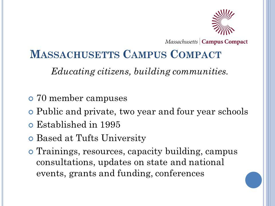 M ASSACHUSETTS C AMPUS C OMPACT Educating citizens, building communities.