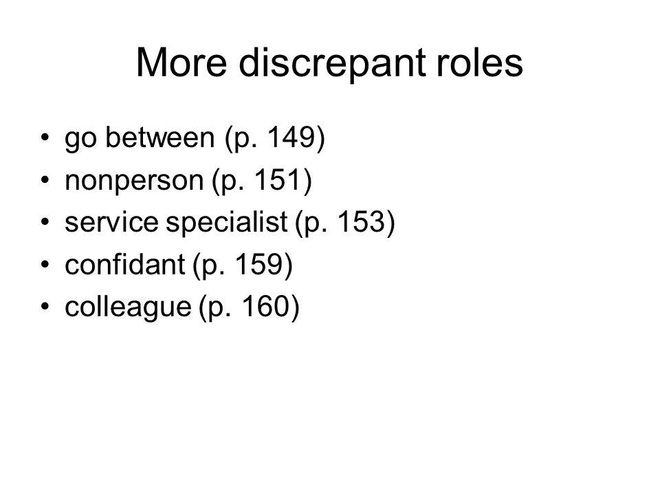More discrepant roles go between (p. 149) nonperson (p. 151) service specialist (p. 153) confidant (p. 159) colleague (p. 160)