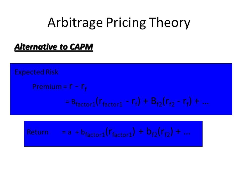 Arbitrage Pricing Theory Alternative to CAPM Expected Risk Premium = r - r f = B factor1 (r factor1 - r f ) + B f2 (r f2 - r f ) + … Return= a + b fac