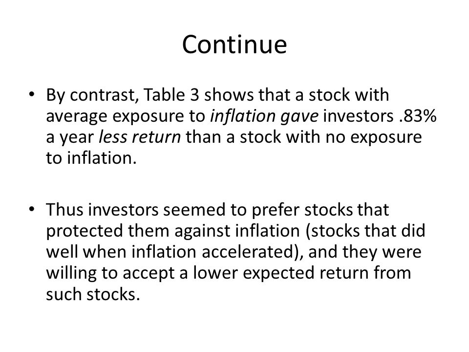 Continue By contrast, Table 3 shows that a stock with average exposure to inflation gave investors.83% a year less return than a stock with no exposur