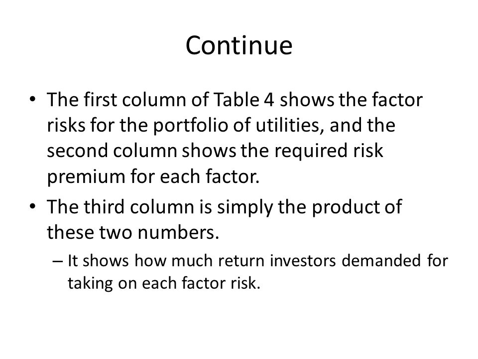 Continue The first column of Table 4 shows the factor risks for the portfolio of utilities, and the second column shows the required risk premium for