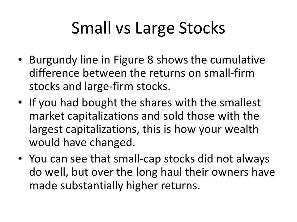 Small vs Large Stocks Burgundy line in Figure 8 shows the cumulative difference between the returns on small-firm stocks and large-firm stocks. If you