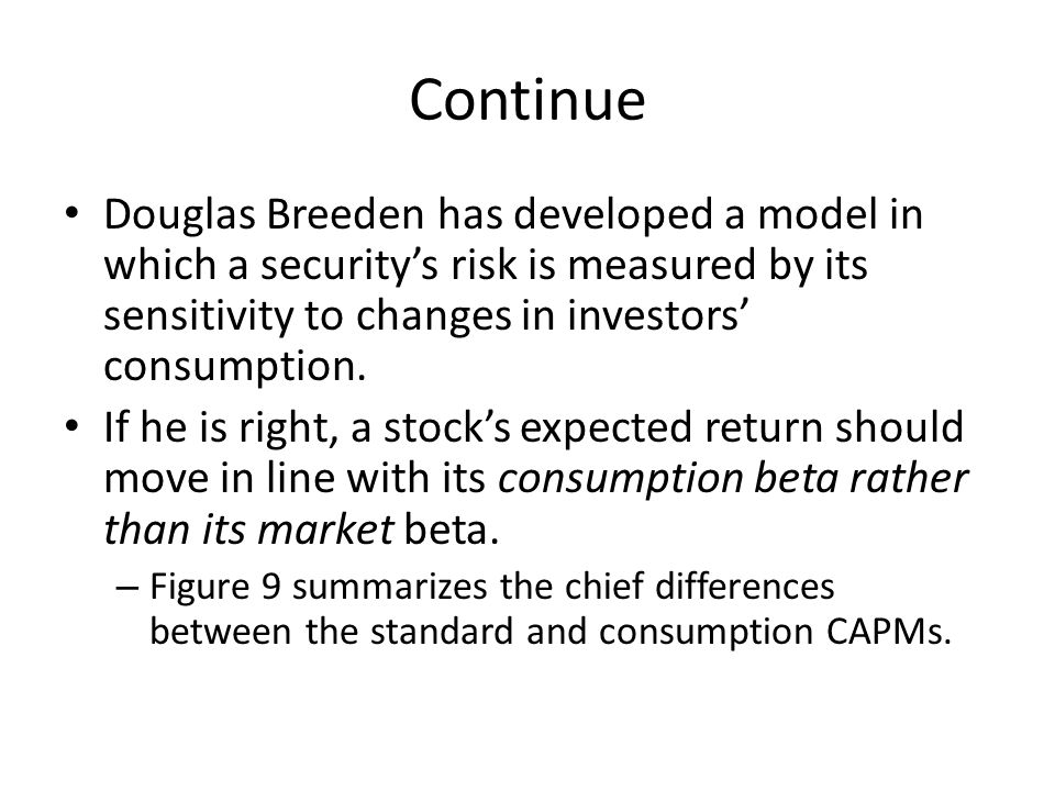 Continue Douglas Breeden has developed a model in which a security's risk is measured by its sensitivity to changes in investors' consumption. If he i