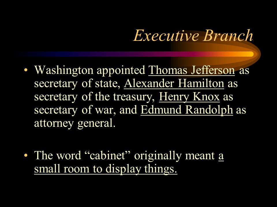 Executive Branch Washington appointed Thomas Jefferson as secretary of state, Alexander Hamilton as secretary of the treasury, Henry Knox as secretary of war, and Edmund Randolph as attorney general.