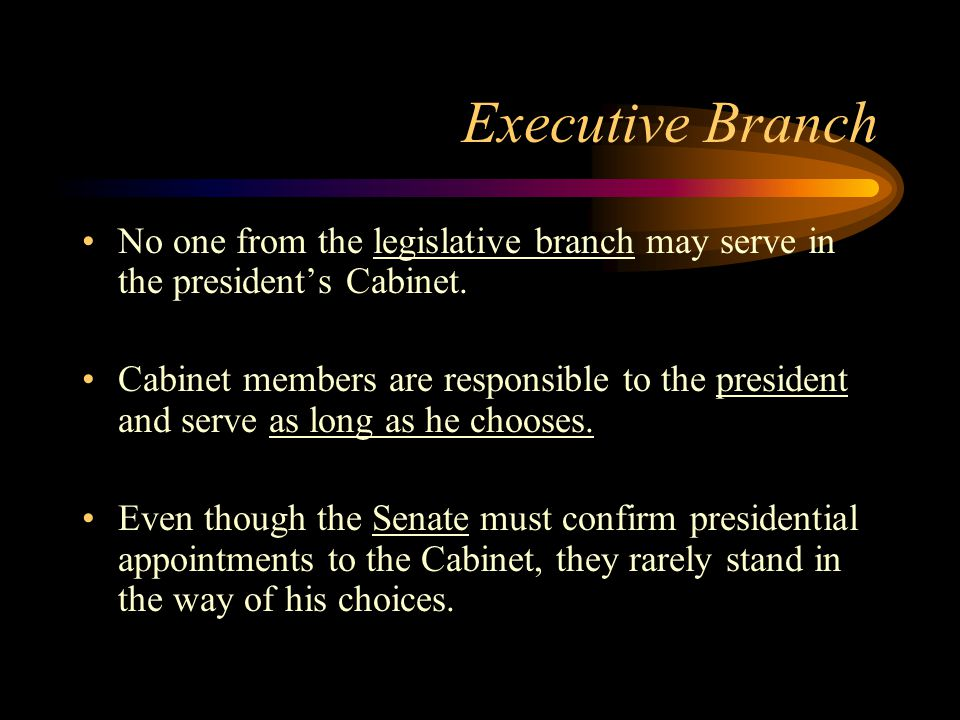 Executive Branch No one from the legislative branch may serve in the president's Cabinet.