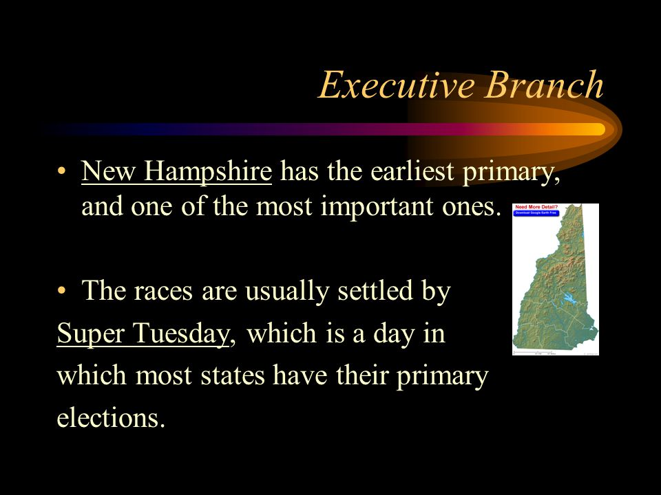 Executive Branch New Hampshire has the earliest primary, and one of the most important ones.