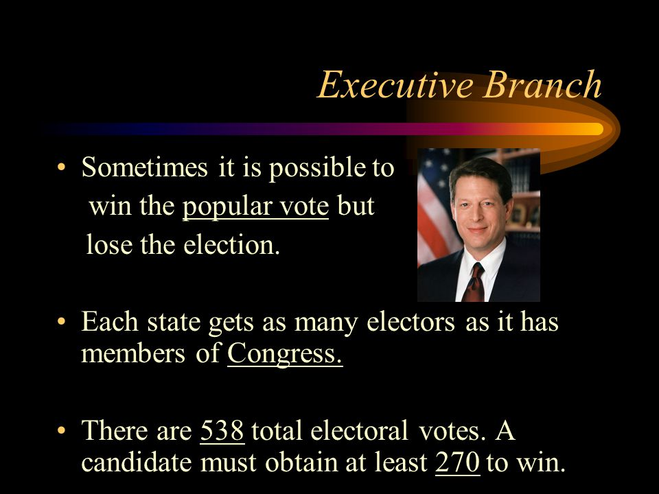 Executive Branch Sometimes it is possible to win the popular vote but lose the election.